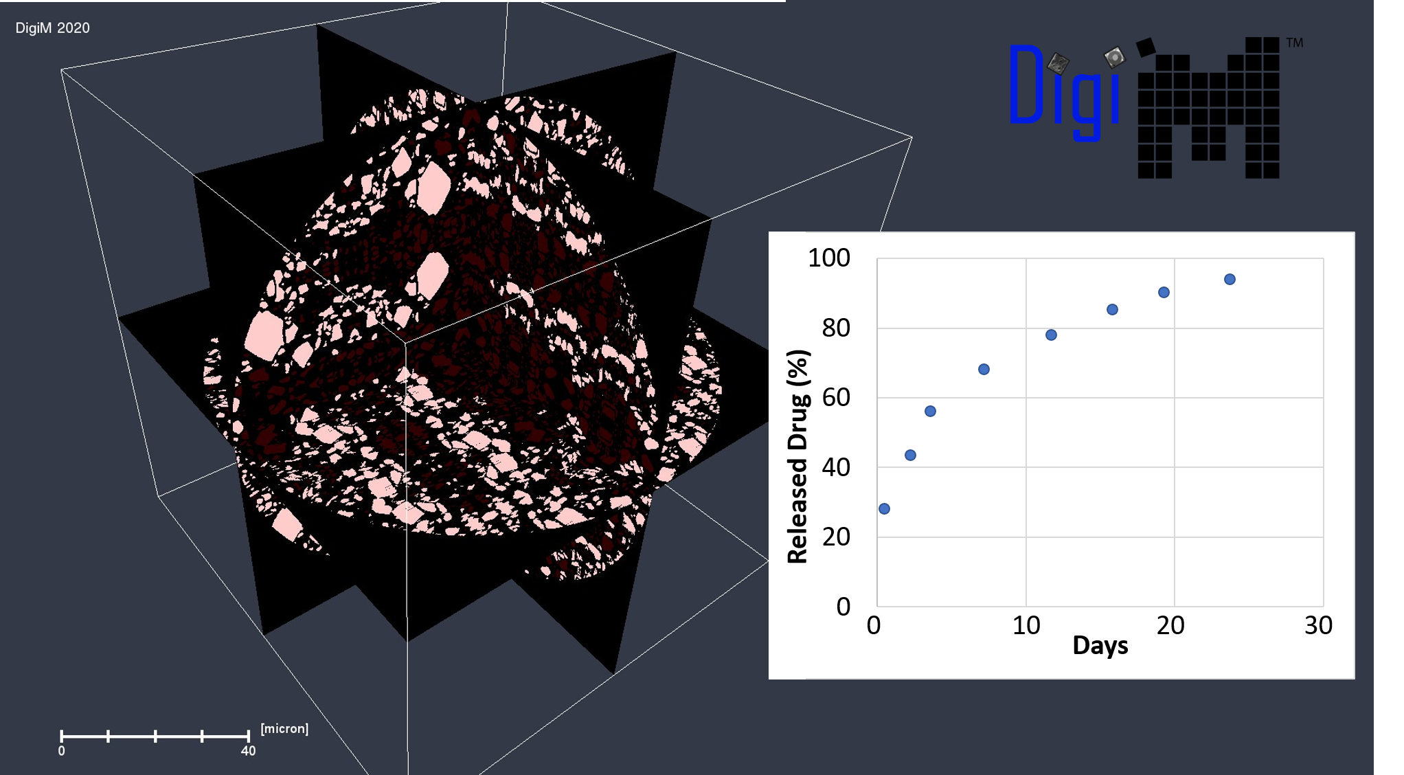 DigiM image-based release simulation for a PLGA microsphere used in long-acting injectables
