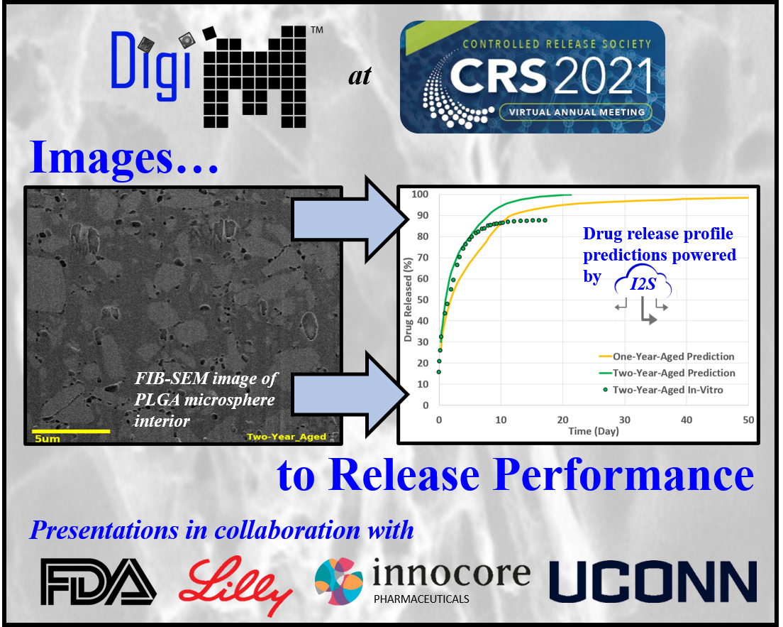 DigiM high resolution XRM and FIB-SEM image-based studies shown at CRS 2021 with drug release profiles